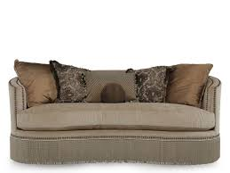 Mathis Brothers Sofa And Loveseats by Fringed Traditional Demilune Sofa In Tan Mathis Brothers Furniture