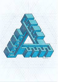 Penrose Tiling Golden Ratio by Impossible Isometric Penrose Triangle Escher Oscarreutersvärd
