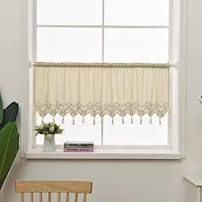 choicehot landhausstil küche vorhang baumwolle leinen quaste kurzgardine hohle häkeln spitze scheibengardin vintage beige cafe bistrogardine 30 x