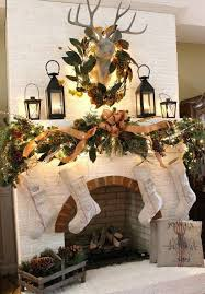 Great Over The Mantel Decoration For Holidays Christmas And Stockings With A Charming Wreath Deer Head
