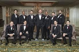 Groom And Groomsmen Black Tuxedos In Sneakers Dress Shoes
