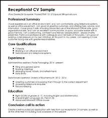 Resume Samples For Receptionist Jobs 2 Cv Sample Large