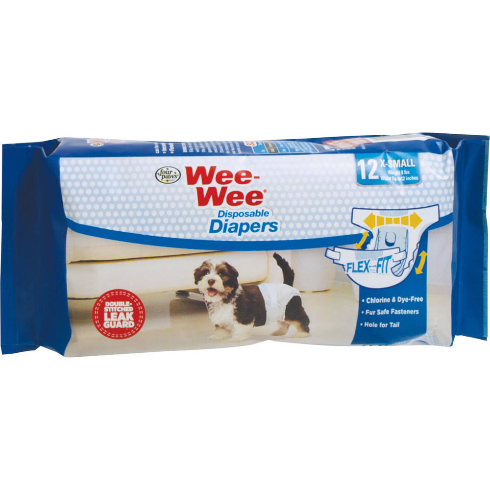 Four Paws Wee-wee Dog Diapers - X-Small, 12pk