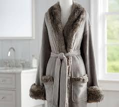 Faux Fur Robe Without Hood Gray Chinchilla