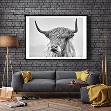 zhouba einfarbiges kuh portraitposter für wohnzimmer wohnkultur ohne rahmen größe 50 x 70 cm