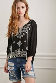 paisley embroidered peasant top from forever 21 budget 27 90