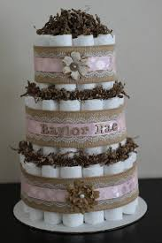 3 Tier Shabby Chic Diaper Cake Burlap By BabeeCakesBoutique 6500