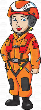 A Female US Coast Guard Helicopter Pilot In Flight Suit Cartoon Clipart