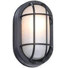 hton bay black outdoor oval bulkhead wall light hb8822p 05