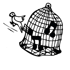 Bird Cage Canary Singing In Colouring Page