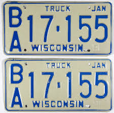 1981 Wisconsin Truck License Plates | Brandywine General Store