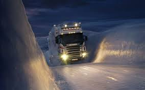 Winter Snow Night Trucks Norway Trailer Vehicles Scania Headlights ...
