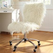 Cool White Fluffy Desk Swivel Chair For Girls Decofurnish