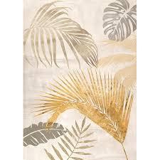 bilder wohnzimmer ideen leinwand bilder palmblätter gold ii