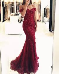 burgundy prom dresses mermaid evening dress lace evening gowns