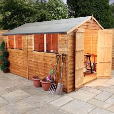 Cheap 6 X 8 Wooden Sheds by 10x8 Overlap Wooden Garden Shed Windows Double Doors Apex Roof