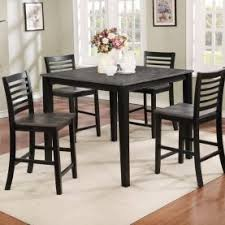 Contemporary Grey Black Counter Height Dining Table 4 Side Stools