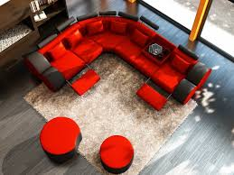 Black And Red Living Room Decorations by Red Living Room Decor Gray Fabric Cover Sectional L Sofa White