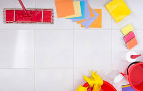 Frame Or Border Of Colorful Cleaning Products Stock Photo