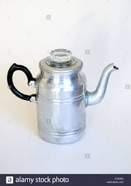 An Old Aluminium Coffee Percolator As Used In The 1940s 1950s On A White Background
