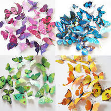Image Is Loading 12PC 3D Butterfly Sticker Art Design Decal Wall