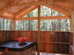 Adorable Country Log Cabins With Rustic Outside Shower Added Wooden Sloped Ceiling Roofs As Inspiring Cabin House Ideas