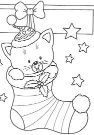 Christmas Kitty Coloring Page Printable Download Free