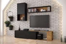 davik wohnwand wohnzimmer braun schwarz tv tisch 250 cm