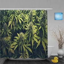 maniseng duschvorhang grüne unkraut cannabis knospe