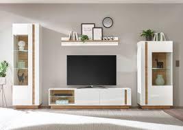 clair wohnwand wohnzimmer anbauwand 4 teilig weiß glanz grandson oak
