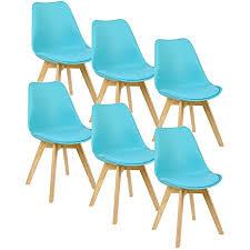 woltu 6er set esszimmerstühle küchenstuhl design stuhl esszimmerstuhl kunstleder holz blau bh29bl 6