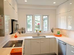 Kitchen Opulent Small U Shaped Design With White Paint Color And Wooden Countertop Completed Recessed Ceiling Lighting Over