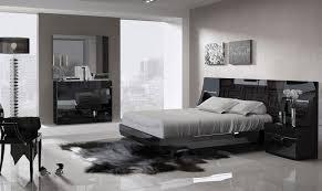 ESF Marbella Modern Black & Wood Grain Lacquer Queen Size Bedroom