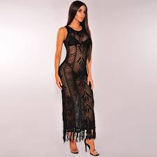 online get cheap black crochet maxi dress beach aliexpress com