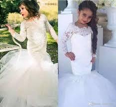 pretty white ivory lace long sleeve mermaid flower dresses