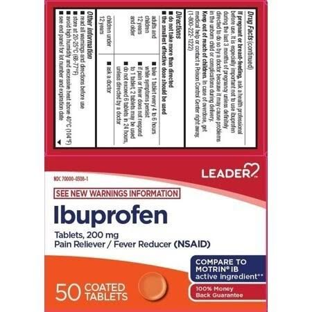 Leader Ibuprofen Coated Tablets 200mg 50ct