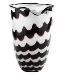 Diamond Star Tall Black White Glass Vase