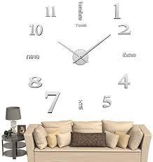 diy 3d wanduhren modern design acryl wanduhren wandtattoo dekoration fürs wohnzimmer kinderzimmer silber