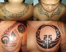 Men Show Necklace And Chest Filipino Tribal Tattoo