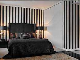 Bedroom Formalbeauteous Striped Wall Decor With Adorable Black Bed Idea Also Stylish Carpet Design