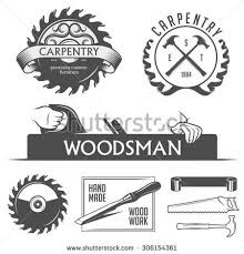 Carpentry And Woodwork Design Elements In Vintage Style Retro Vector Illustration