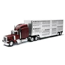 1/32nd New Ray Peterbilt 379 Pot Belly Livestock Trailer