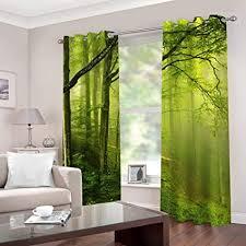 empty schlafzimmer 3d verdunkelungsvorhänge grüner wald