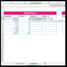 how to use the ceiling math and the floor math function in excel
