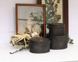 Small Rustic Tin Boxes With Lid Primitive Set Of 3 Oval Black Metal