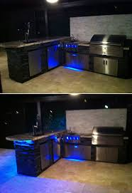 custom outdoor kitchen led lighting changes color with dramatic