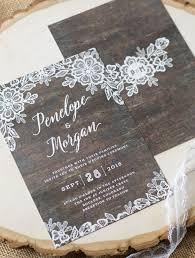 Woodgrain Lace Rustic Wedding Invitations