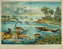 Dinosaurs Landscaping Antique Prints Antiques Extinct Animals Printing Colors Print Paper Size