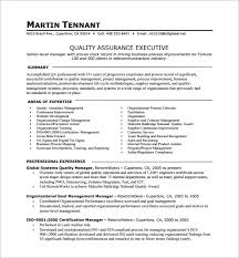 Quality Assurance Executive One Page Resume PDF Download