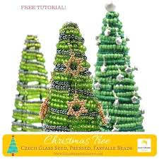 Christmas Tree Beads Glass Seed Pressed Free Pattern Tutorial Wooden Bead Garland
